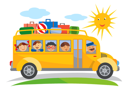Ilustración de School bus school trip cartoon. Cartoon of yellow School bus traveling on a school trip. Vector available - Imagen libre de derechos