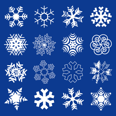 Illustration for Snow flakes. Set of  original stylized snow flakes on the dark blue background. Vector  available. - Royalty Free Image