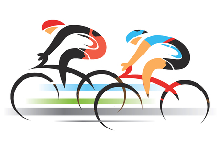 Illustrazione per Two sport cyclists. Two racing cyclists. Colorful stylized illustration. Vector available. - Immagini Royalty Free
