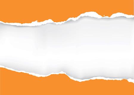 Illustration pour Orange ripped paper. Illustration of orange ripped paper with place for your image or text. Vector available. - image libre de droit