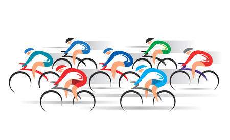 Illustrazione per Bicycle Road Racers. Group of racing cyclists. - Immagini Royalty Free