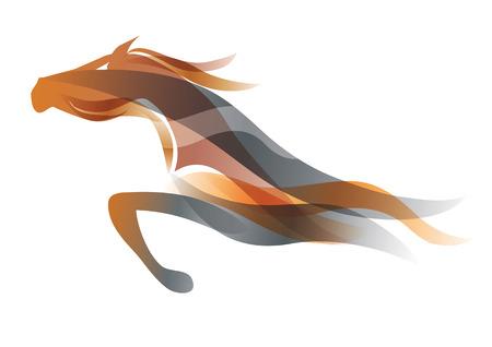 Illustration pour Running horse. Colorful stylized illustration of running horse. Vector available. - image libre de droit