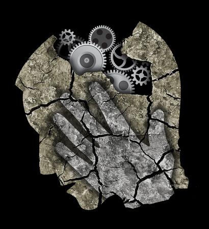 Foto de Alzheimer's disease dementia. StylizadMale head silhouette with gear. - Imagen libre de derechos