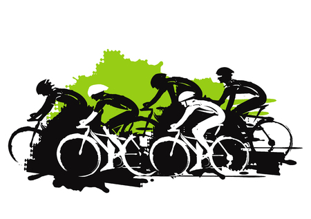 Illustrazione per Road cycling racers. Expressive stylized illustration of cyclist imitating drawing ink and brush. Vector available. - Immagini Royalty Free