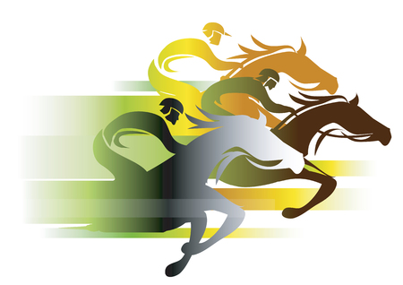 Ilustración de Horse Race In autumn colors. Three racing jockeys at Full Speed. Colorful illustration on white background.Vector available - Imagen libre de derechos
