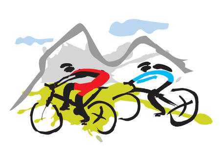 Illustrazione per Mountain bikers riding the trail Hand drawn expressive illustration of Mountain bikers. Vector available. - Immagini Royalty Free
