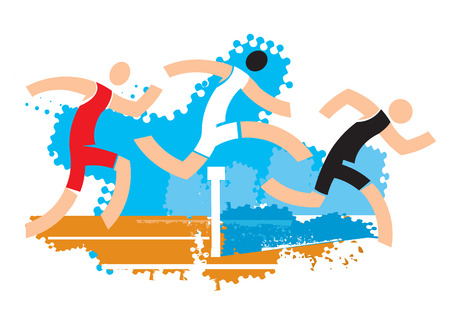 Ilustración de Runners on water ditch hurdle. Colorful stylized illustration of racers jumping over water ditch hurdle. Vector available. - Imagen libre de derechos