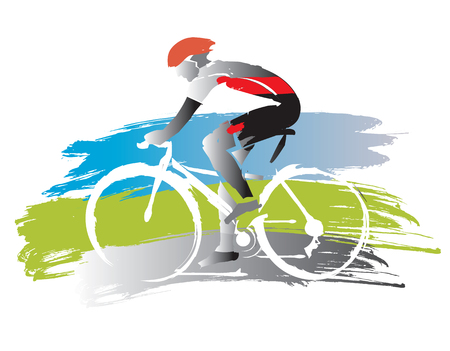 Illustrazione per Bicyclist on grunge background. Expressive watercolor imitated illustration of road cyclist vector available. - Immagini Royalty Free