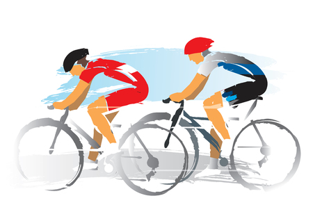 Illustrazione per Road cyclists racers. Expressive watercolor imitate Illustration of two road cyclist. Vector available. - Immagini Royalty Free