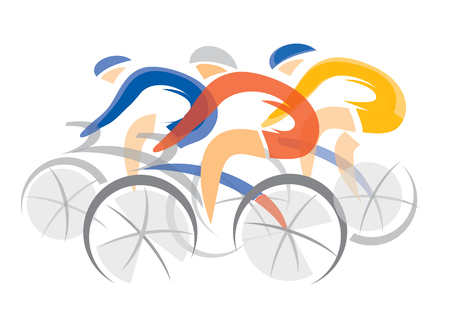 Illustrazione per Road cycling competitors. Three racing cyclists. Colorful stylized illustration. Vector available. - Immagini Royalty Free