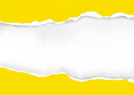 Illustrazione per Yellow ripped paper background. llustration of yellow ripped paper with place for your image or text. Vector available. - Immagini Royalty Free