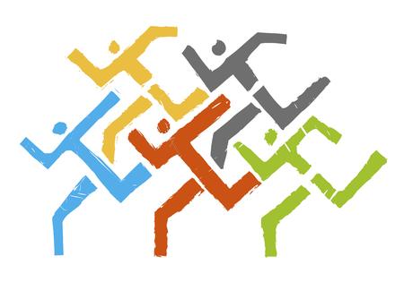 Ilustración de Sport Runners logo. Abstract stylized illustration of running race.Vector available. - Imagen libre de derechos