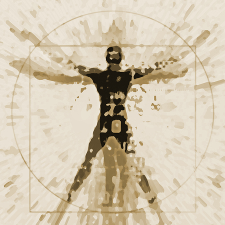 Foto de Vitruvian man expressive stylized. An illustration of a decaying silhouette of Vitruvian man. - Imagen libre de derechos