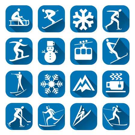 Winter sport icon with long shadow. Set of blue winter sport icons with winter sport activities. Vector available