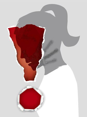 Ilustración de Domestic Violence Against Women. Young woman stylized silhouette profile with hand print after hand slap in ripped paper exclamation mark. Vector available. - Imagen libre de derechos