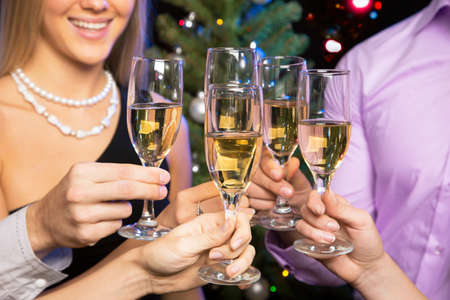 Photo for Image of people hands with crystal glasses full of champagne - Royalty Free Image