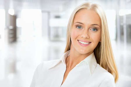 Photo for Closeup portrait of cute young business woman smiling - Royalty Free Image