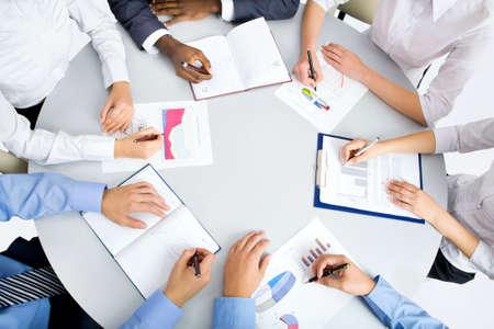 Foto de Image of business people hands working at meeting - Imagen libre de derechos
