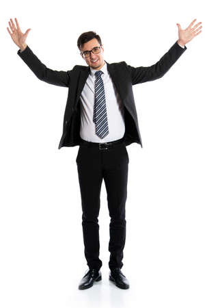 Photo for Young businessman showing a white background - Royalty Free Image
