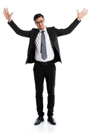 Photo pour Young businessman showing a white background - image libre de droit