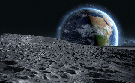 Photo for moon surface. The space view of the planet earth. 3d rendering. - Royalty Free Image