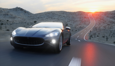 Photo pour Black sport car on road, highway. Very fast driving. 3d rendering - image libre de droit