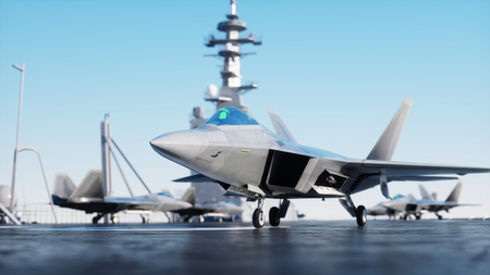 Foto de Jet f22, fighter on aircraft carrier in sea, ocean . War and weapon concept. 3d rendering. - Imagen libre de derechos