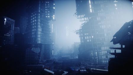 Photo pour Apocalypse city in fog. Aerial View of the destroyed city. Apocalypse concept. 3d rendering. - image libre de droit
