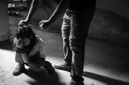 Photo pour Asian girl with his hands tied in an abandoned building,stop abusing violence,human trafficking concept - image libre de droit