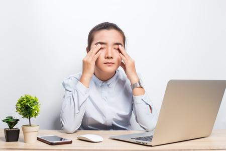 Foto für Woman has eye pain - Lizenzfreies Bild