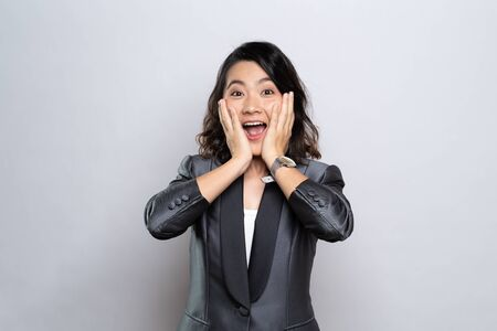 Photo for Portrait of excited woman isolated over background - Royalty Free Image