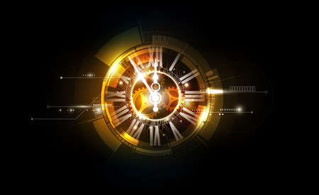Ilustración de Abstract Futuristic Technology Background with Clock concept and Time Machine, vector illustration - Imagen libre de derechos