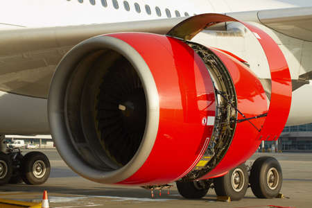 Photo for Maintenance of the jet engine before take off  - Royalty Free Image