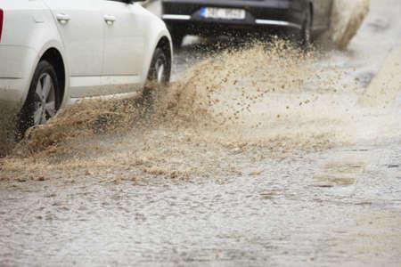 Traffic in the heavy rain - selective focus