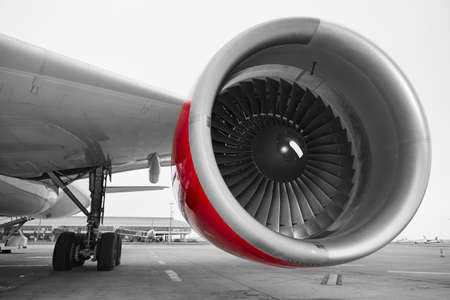 Photo for Engine of the airplane at the airport. - Royalty Free Image