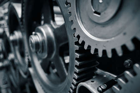 Photo for Large cog wheels in the motor - blue toned - Royalty Free Image