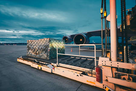 Photo for Airport at the dusk. Loading of cargo to the freight aircraft. - Royalty Free Image
