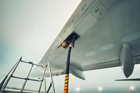 Photo for Process of the refueling passenger plane at the airport - Royalty Free Image