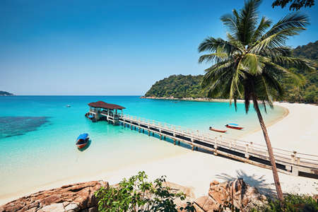 Photo for Sunny day on the idyllic beach. Perhentian Islands in Malaysia. - Royalty Free Image