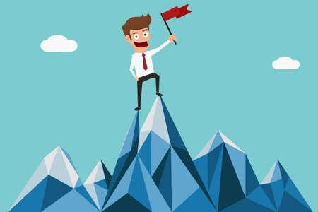 Illustration pour Successful businessman holding flag on top of mountain. Success concept. Cartoon Vector Illustration. - image libre de droit
