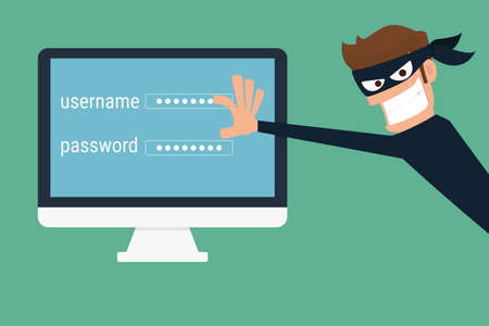 Illustration pour Thief. Hacker stealing sensitive data as passwords from a personal computer useful for anti phishing and internet viruses campaigns. concept hacking internet social network. Cartoon Vector Illustration. - image libre de droit