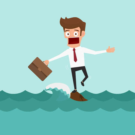 Illustration for Businessman standing on a rock in the middle of sea with big waves. Risk concept. Cartoon vector Illustration. - Royalty Free Image