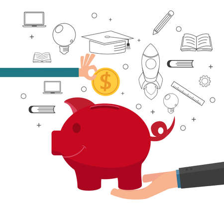 Illustration pour Family teaching child to save money and financial planning for future. Cartoon vector Illustration. - image libre de droit
