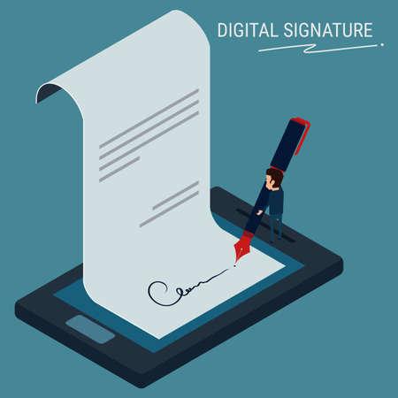Illustration pour Flat Isometric. Digital signature , businessman sign on smartphone. Cartoon Vector Illustration. - image libre de droit