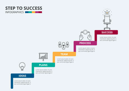 Ilustración de Stair step to success. Staircase with icons and elements to success. Can be used for infographic, banner, diagram, step up options. Vector Illustration. - Imagen libre de derechos