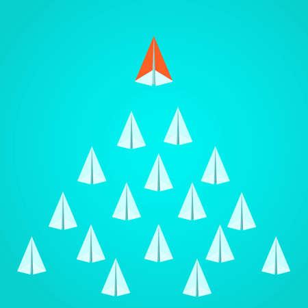 Illustration pour Leadership concept. Orange paper airplane leader standing out from the crowd. Business advantage opportunities and success concept. - image libre de droit