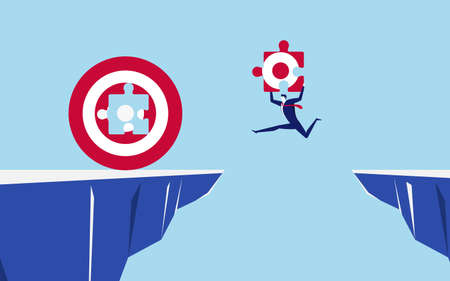 Illustration pour Businessman holds a part of the target jumping through the gap obstacles between hill to fill big target and success. Running and jump over cliffs. Business risk and success concept. Cartoon Vector Illustration. - image libre de droit