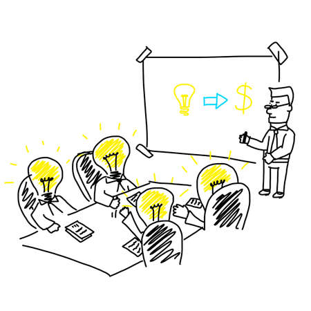 Illustration pour business meeting and brainstorming presentation for company target and strategy - image libre de droit