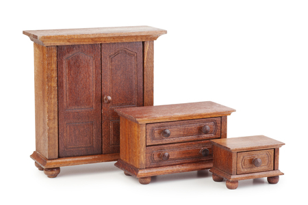 vintage doll wooden furniture set: wardrobe, chest of drawers and nightstand