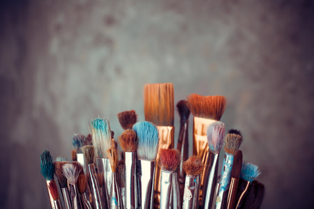 Photo for Bunch of artist paintbrushes closeup - Royalty Free Image